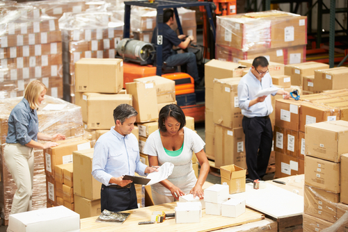 Group of employees in a warehouse working