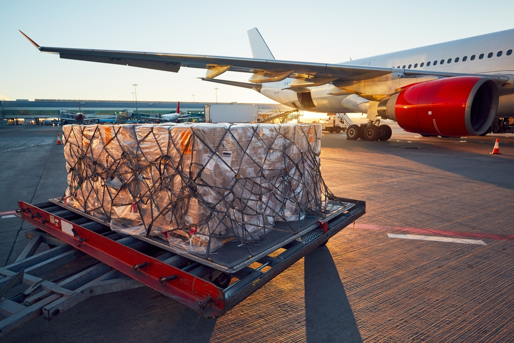 A palette of packages is loaded onto a plane to be shipped by air mail.